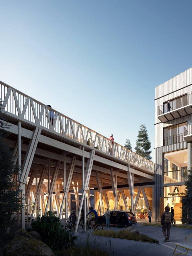 Leilighetshuset på Høgevarde er tegnet av Vill Urbanisme og bygget i miljøvennlig massivtre.